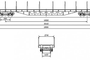WAGON, FLAT, 4AXLED, FOR TRANSPORTING CONTAINERS, Rgs type