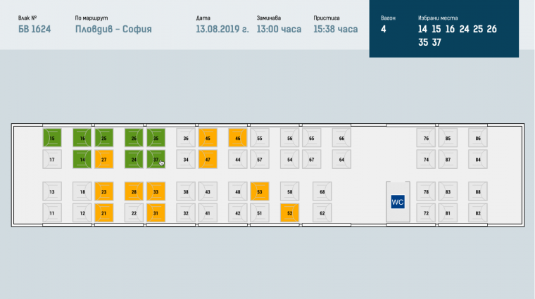 Схема на вагон за избор на места